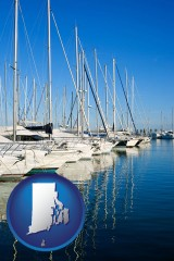 rhode-island map icon and sailboats in a marina