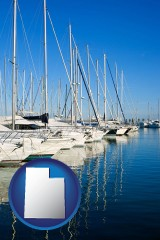 utah map icon and sailboats in a marina