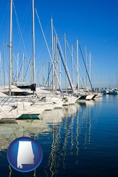 sailboats in a marina - with Alabama icon