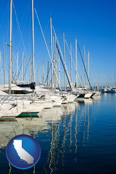 sailboats in a marina - with California icon
