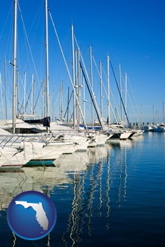 sailboats in a marina - with Florida icon