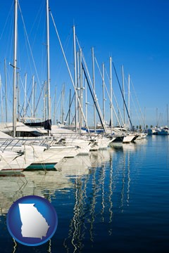 sailboats in a marina - with Georgia icon
