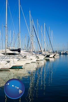 sailboats in a marina - with Hawaii icon