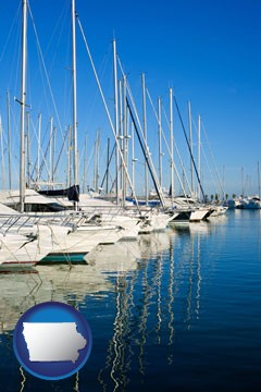 sailboats in a marina - with Iowa icon