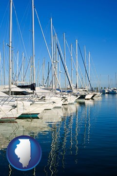 sailboats in a marina - with Illinois icon