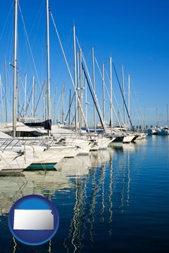 sailboats in a marina - with Kansas icon