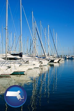 sailboats in a marina - with Massachusetts icon