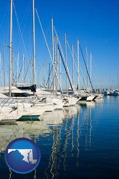 sailboats in a marina - with Maryland icon