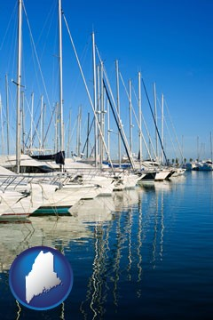 sailboats in a marina - with Maine icon