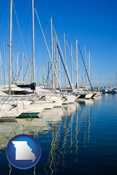 sailboats in a marina - with Missouri icon
