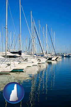 sailboats in a marina - with New Hampshire icon