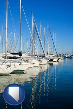 sailboats in a marina - with Nevada icon