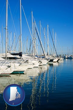 sailboats in a marina - with Rhode Island icon