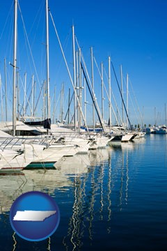 sailboats in a marina - with Tennessee icon