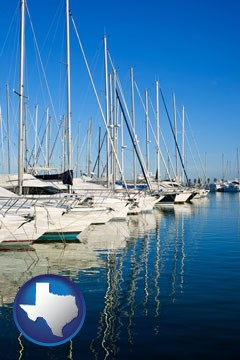 sailboats in a marina - with Texas icon