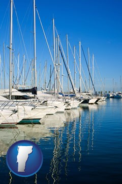 sailboats in a marina - with Vermont icon
