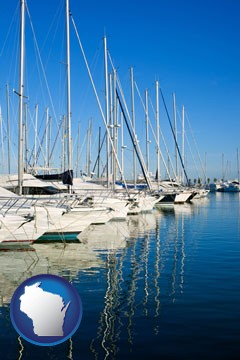 sailboats in a marina - with Wisconsin icon