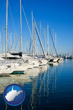 sailboats in a marina - with West Virginia icon