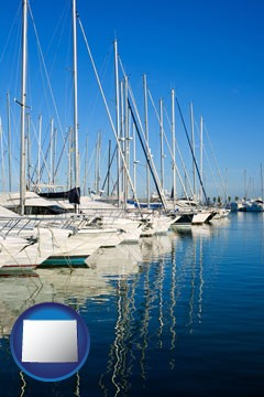 sailboats in a marina - with Wyoming icon